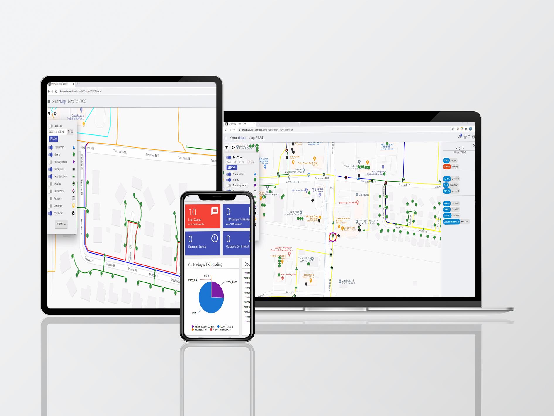 Utilismart SmartMAP: Screens